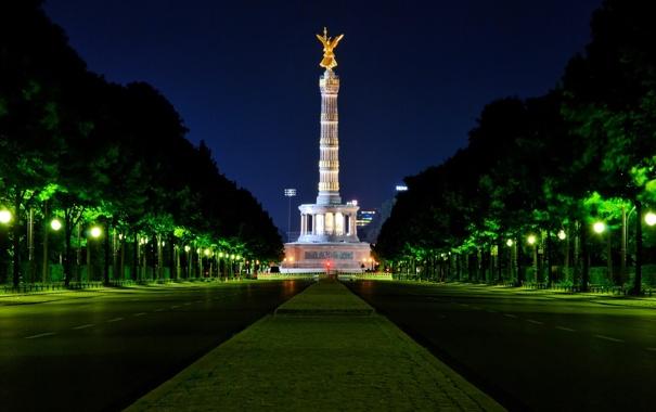 Фото обои ночь, германия, night, берлин, germany, berlin, Victory Column