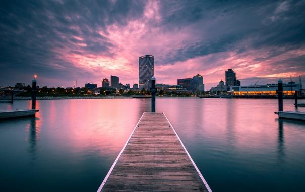 Фото обои ночь, город, Milwaukee