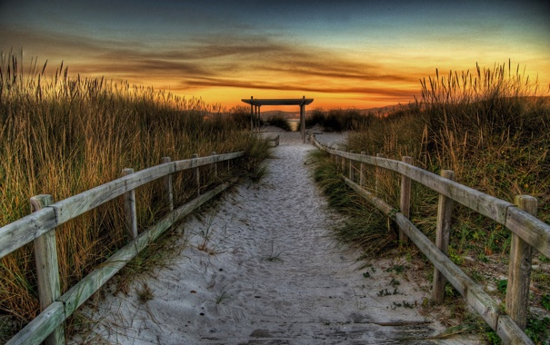 Фото обои песок, трава, закат, дорожка, перила