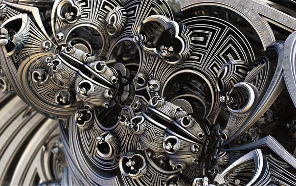 Фото обои линии, металл, абстракция, завитки, фигуры