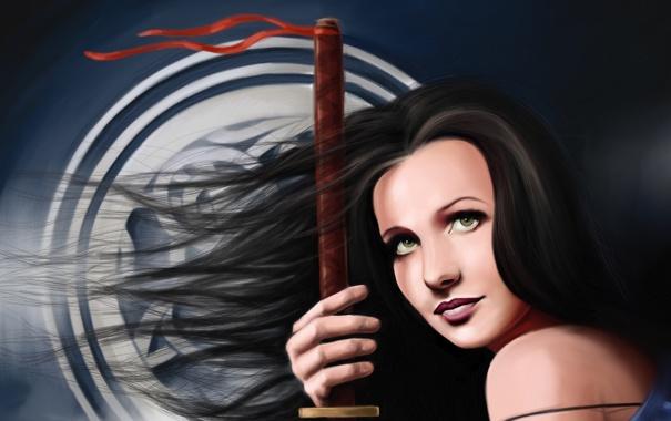 Фото обои взгляд, девушка, лицо, фон, волосы, рука, арт