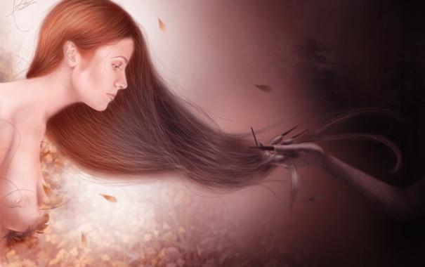 Фото обои грудь, девушка, фантастика, тьма, рука, перья, арт