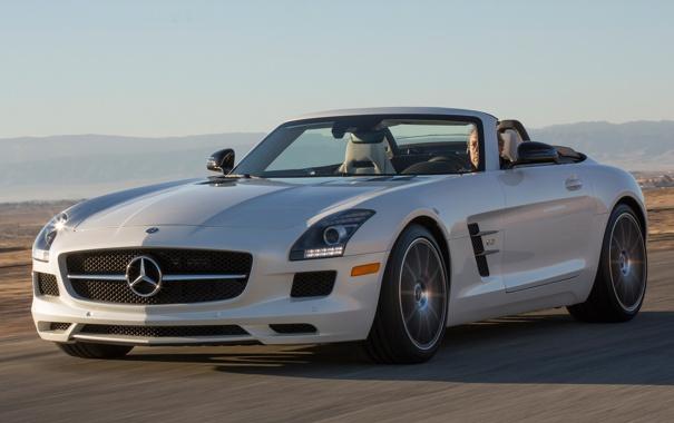 Фото обои машина, Roadster, Mercedes-Benz, скорость, мерседес, AMG, SLS