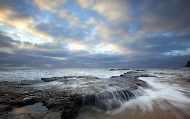 Фото обои море, пейзаж, закат, скалы