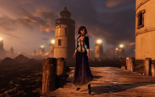 Фото обои вода, мост, огни, дерево, маяки, Bioshock Infinite, Элизабет