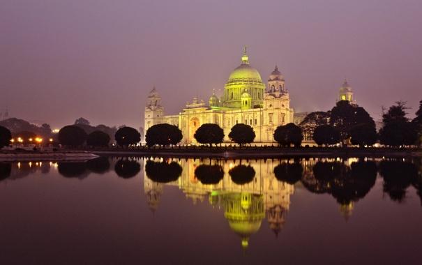 Фото обои ночь, Индия, освещение, мемореал Виктория, калькутта