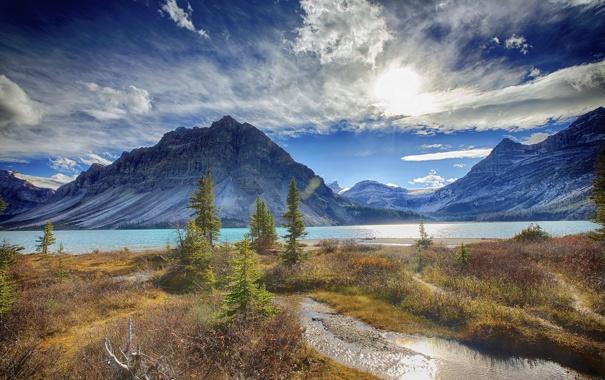 Фото обои небо, облака, деревья, горы, озеро, река