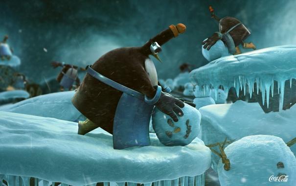Фото обои пингвин, снеговик, Coca Cola