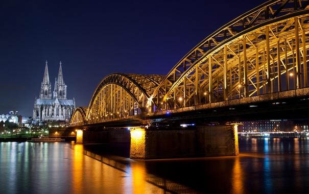 Фото обои дорога, ночь, мост, город, река, Германия, освещение
