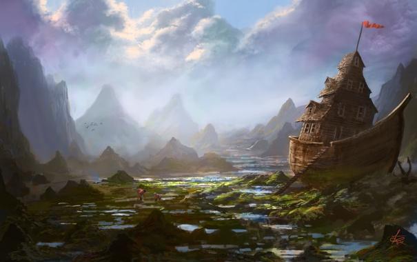 Фото обои горы, дом, люди, корабль, арт, мель