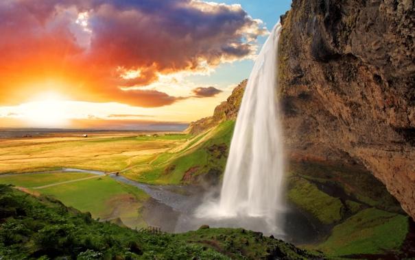 Фото обои небо, вода, солнце, облака, закат, горы, река