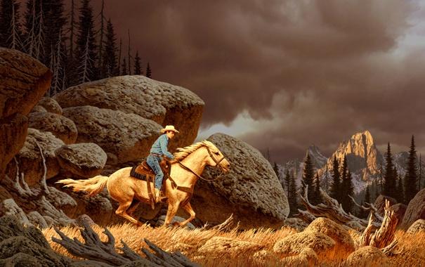 Фото обои камни, лошадь, скалы, пейзаж, лес, ковбой, человек