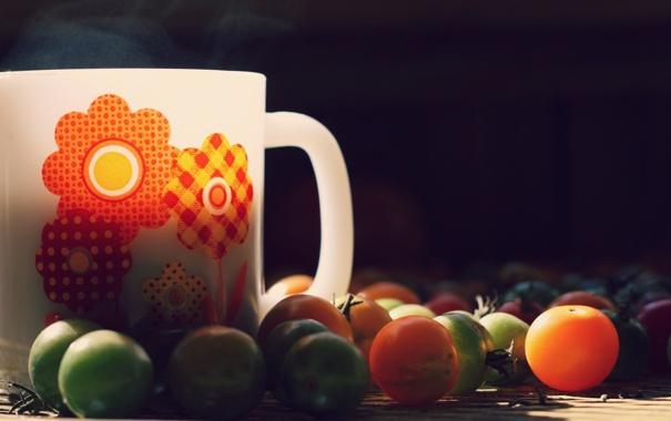 Фото обои кружка, чашка, помидоры, помидорки