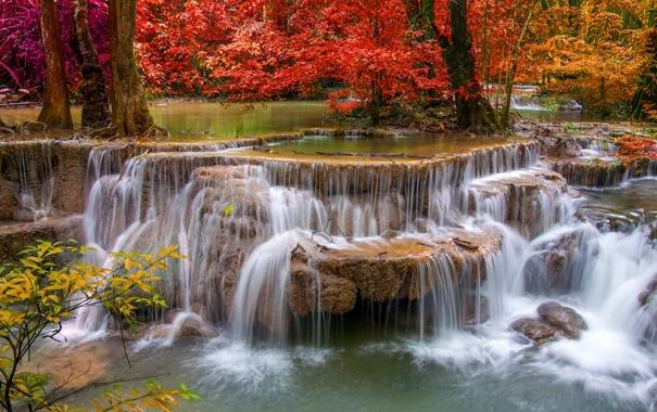 Фото обои осень, вода, природа, река, камни, водопад, красиво