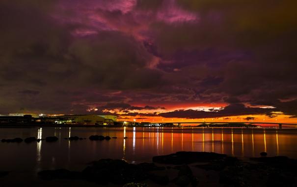Фото обои закат, строения, мост, море, огни