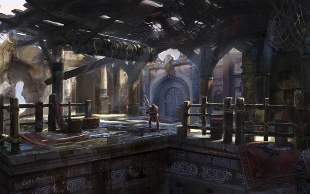Фото обои оружие, ковер, человек, воин, колонны, разруха, помещение