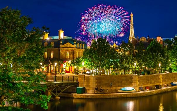 Фото обои ночь, мост, огни, парк, дома, салют, фонари