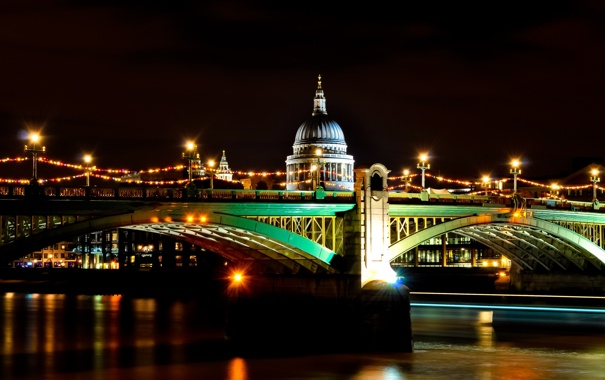 Фото обои ночь, lights, огни, Англия, Лондон, night, London