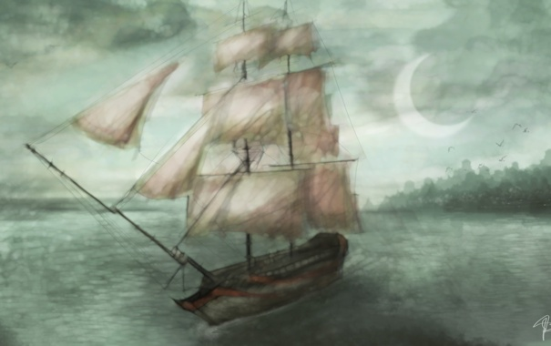 Фото обои море, небо, тучи, луна, корабль, арт, паруса