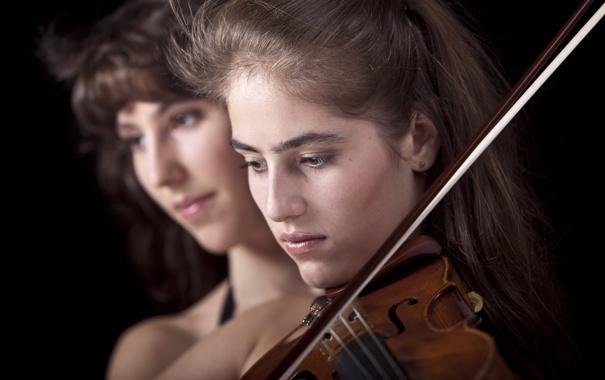 Фото обои girl, violin, orchestra