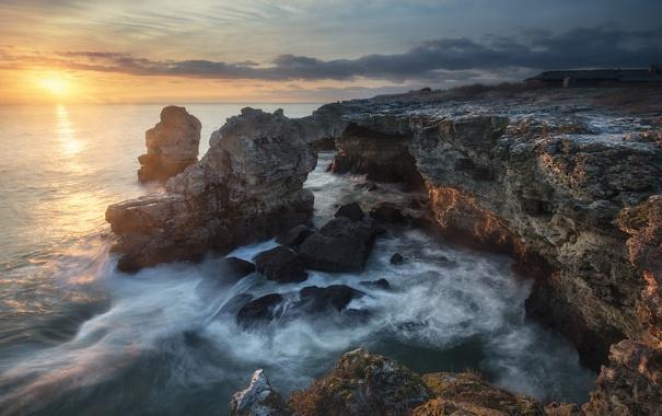 Фото обои rock, ocean, water, cloud, sun