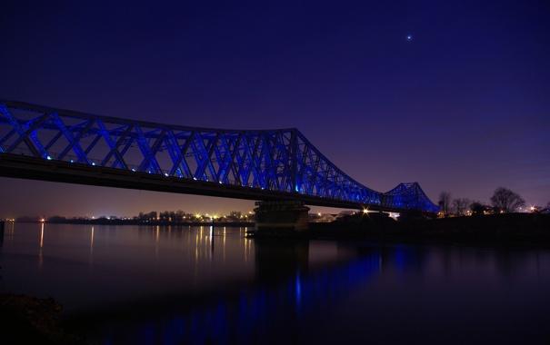 Фото обои небо, вода, свет, ночь, огни, река, фото