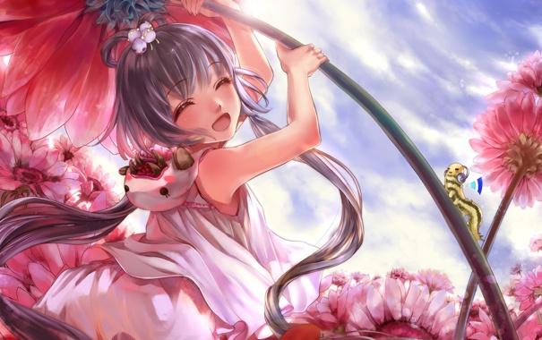 Фото обои цветы, гусеница, музыка, поляна, смех, наушники, арт