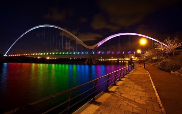 Фото обои мост, река, ноччь