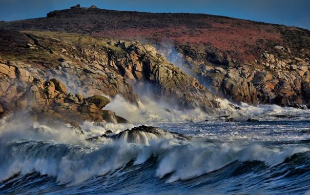 Фото обои море, волны, пена, вода, капли, шторм, скала