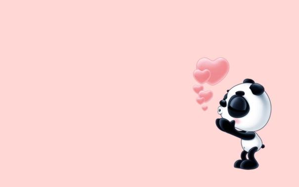 Фото обои праздник, панда, сердечки, признание, валентинки, минимализь