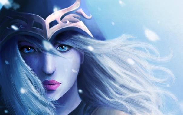 Фото обои девушка, art, голубые глаза, арт, Ashe, league of Legends, игра