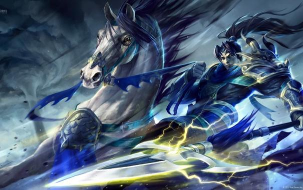 Фото обои конь, молнии, буря, доспехи, воин, копье, Warring Kingdoms