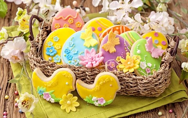 Фото обои весна, colorful, печенье, пасха, flowers, sweet, глазурь