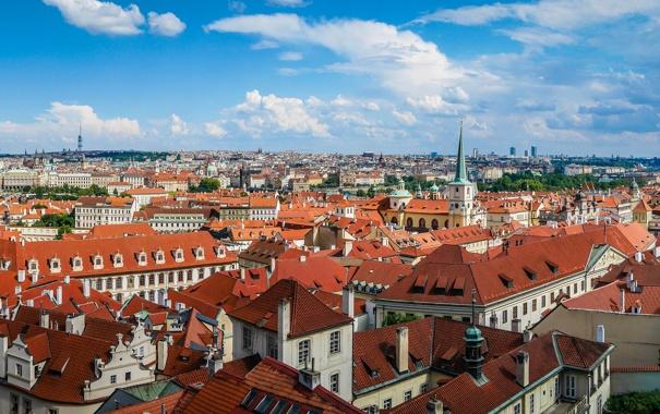 Фото обои дома, крыши, Прага, Чехия, панорама