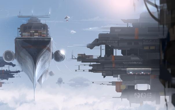 Фото обои облака, высота, корабли, арт, в небе