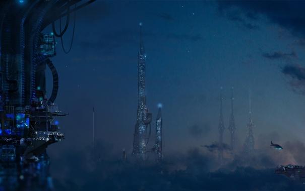 Фото обои звезды, облака, ночь, город, будущее, высота, корабли