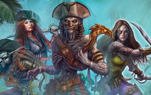 Фото обои пальмы, оружие, девушки, шляпа, арт, повязка, пираты