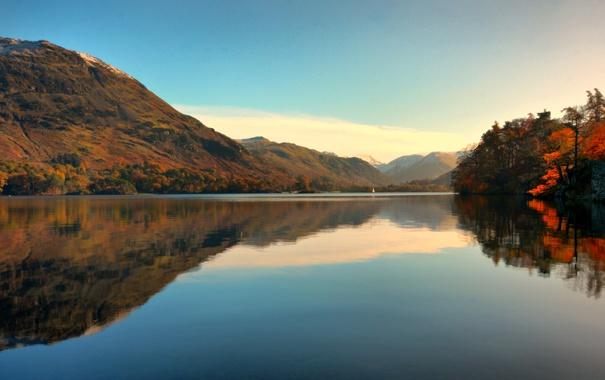 Фото обои осень, деревья, озеро, холмы, берег