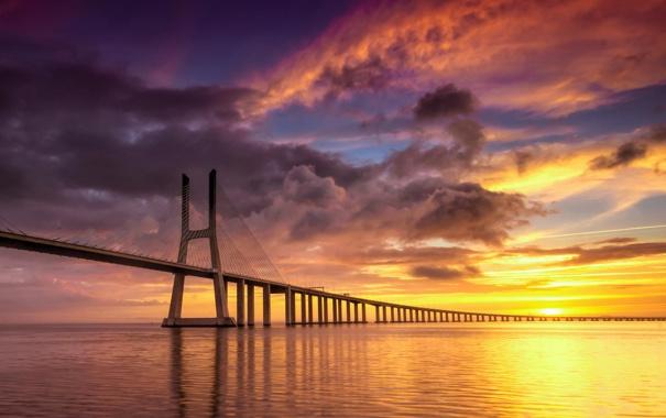 Фото обои закат, пейзаж, мост, море