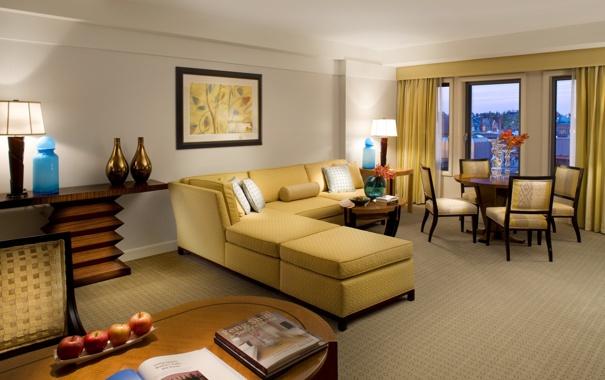 Фото обои цветы, желтый, дизайн, стиль, стол, комната, диван