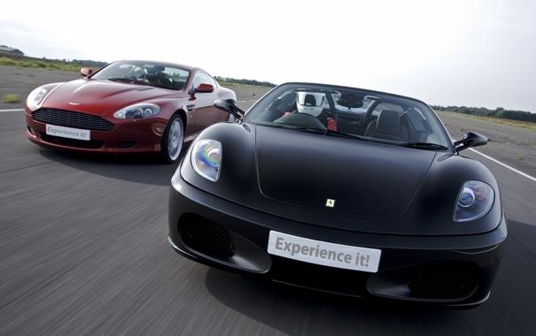 Фото обои небо, асфальт, гонка, астон мартин, феррари, Ferrari F430 Spider, Aston Martin Vantage