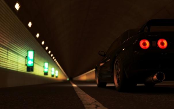 Фото обои дорога, свет, фары, nissan, skyline, cars, auto