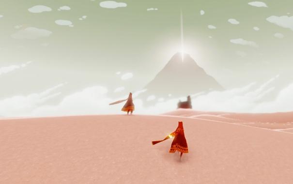 Фото обои пустыня, игра, гора, journey, сверкание, playstation3