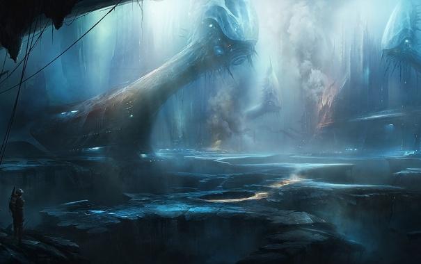 Фото обои korbox, люди, пещера, арт, сооружения, дым