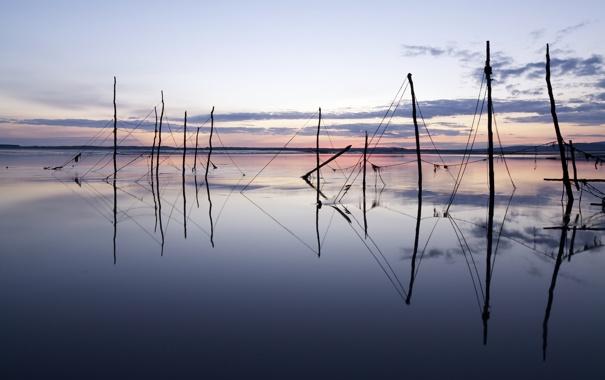 Фото обои закат, пейзаж, озеро, сети