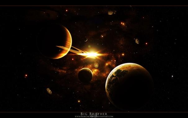 Фото обои космос, вселенная, планеты, спутники