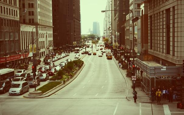 Фото обои машины, город, движение, люди, улица, небоскребы, Чикаго