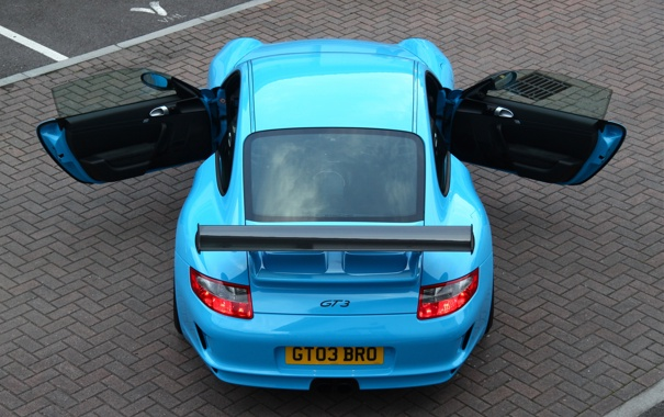 Фото обои голубой, купе, Porsche, суперкар, порше, GT3