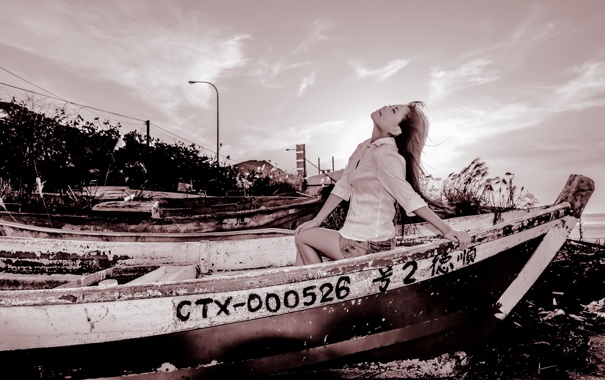 Фото обои девушка, лодка, азиатка