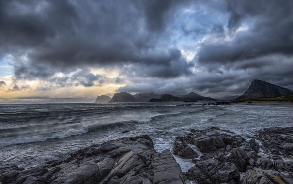 Фото обои coast, cloud, wave, arctic, norway, lofoten